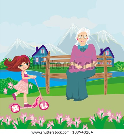 Little girl riding a scooter  - stock vector