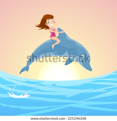 Little Girl Riding on the Jumping Dolphin's Back, with brunette little girl with pink swimming suit and lovely blue dolphin jumping out of the water vector illustration. - stock vector