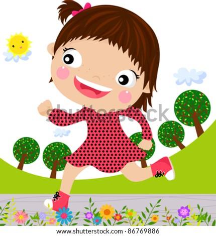 Little girl running - stock vector
