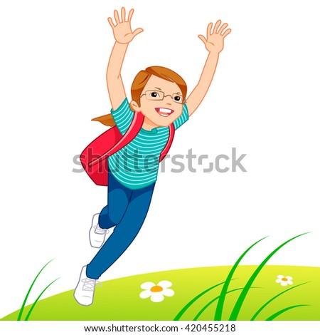 Little girl running on the lawn - stock vector