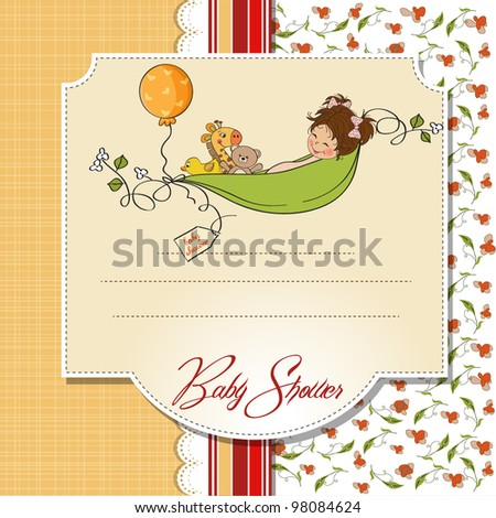 little girl siting in a pea been. baby announcement card - stock vector