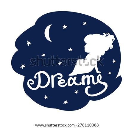 little girl sitting against the backdrop of a starry sky, beautiful baby greeting card