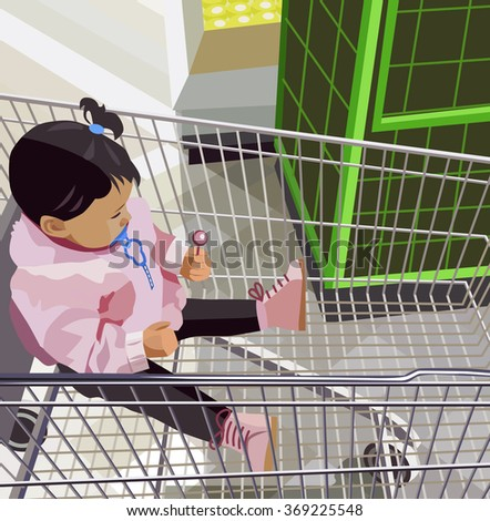 little girl sitting in the food trolley (vector illustration) - stock vector