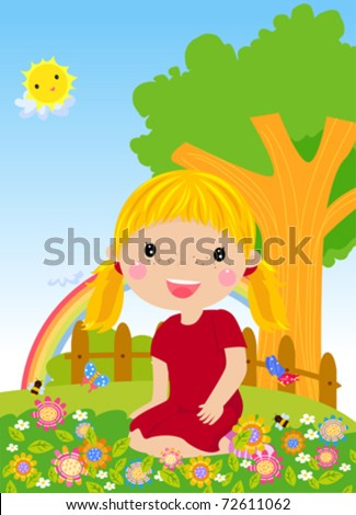 Little girl sitting on grass