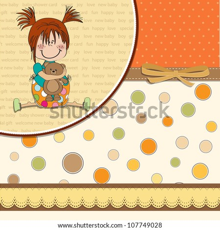 little girl sitting with her teddy bear - stock vector