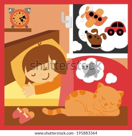 little girl sleeping in the room - stock vector