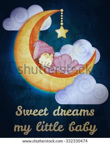 Little girl sleeping on the moon card - stock vector