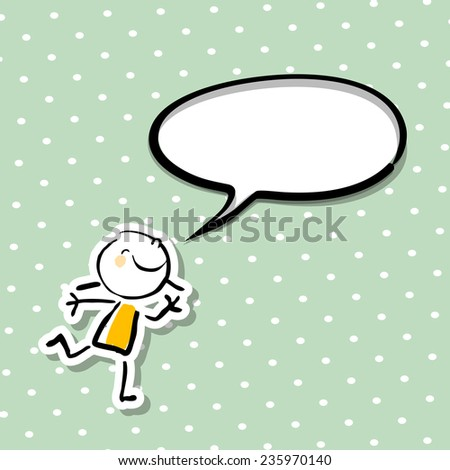 Little girl, smiling kid with blank speech balloon, communicating a message. Empty speech bubble with copy space.  - stock vector