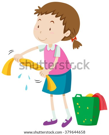 Little girl squeezing clothes illustration