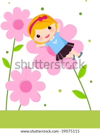 little girl standing into a flower