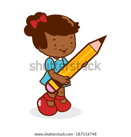 Little girl student holding a big pencil. A cute African american girl student writing using a big pencil. - stock vector