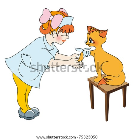 Little girl treats the paw of kitty - stock vector