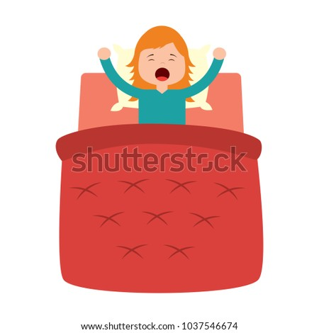 little girl waking up with a in blanket and pillow vector illustration