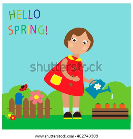 Little girl watering growing carrots in the garden.  - stock vector