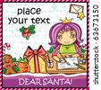 Little girl, wearing crown, writing a letter to Santa . Lots of  Christmas ornaments and decorations - stock vector