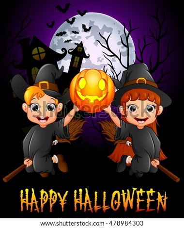 Little girl witch and little boy costume flying while holding pumpkin .Vector illustration