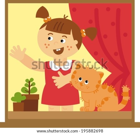 little girl with a cat, vector illustration - stock vector