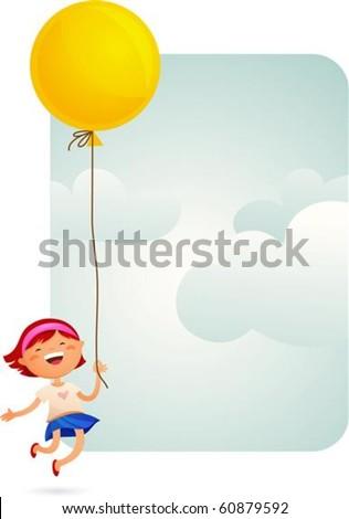 Little Girl with a yellow balloon - stock vector