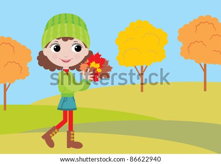 Little girl with autumn leaves.  vector, color full, no gradient - stock vector