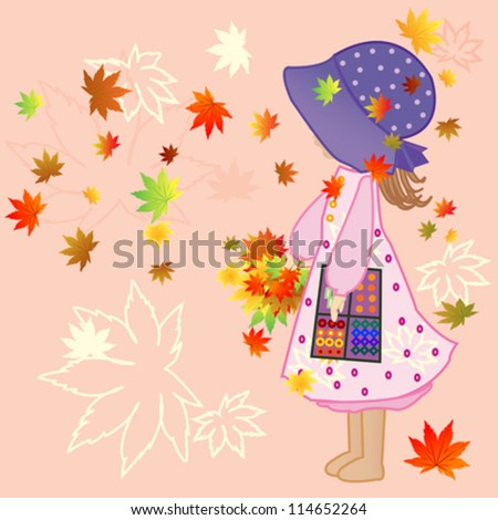 little girl with Autumn Leaves Vector Illustration - stock vector