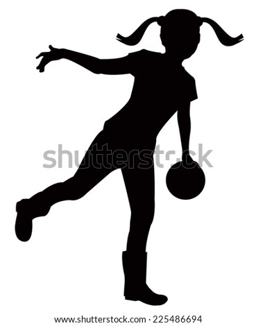 Little girl with ball - stock vector
