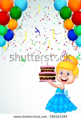 Little girl with birthday cake  - stock vector