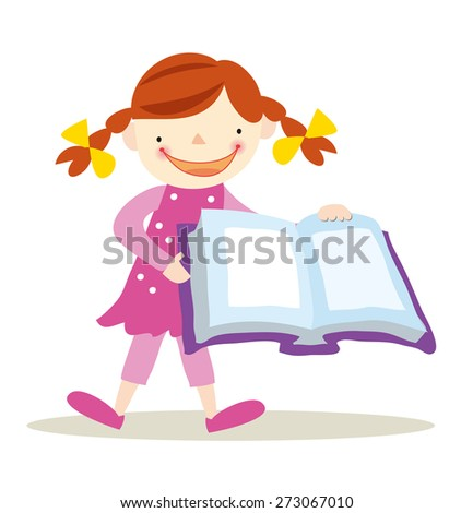 little girl with book. - stock vector