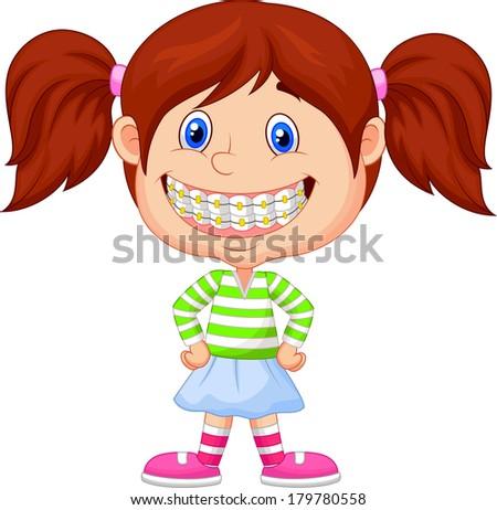 Little girl with brackets - stock vector