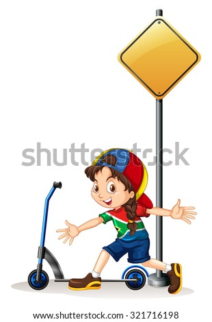 Little girl with hand scooter illustration