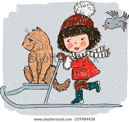 little girl with her cat on the sledge - stock vector
