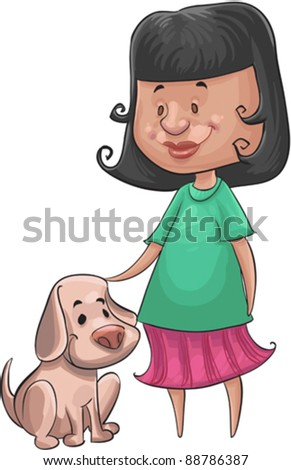 little girl with her happy little dog