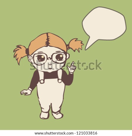 Little girl with speech bubble. Vector illustration