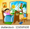 Little girl woke up in a nightie and yawns. vector illustration; - stock vector