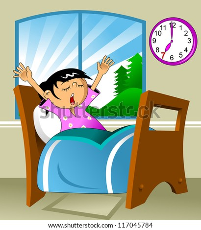 Little girl woke up in a nightie and yawns; vector illustration; - stock vector