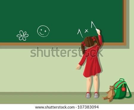 Little girl writing on blackboard in  the classroom - stock vector