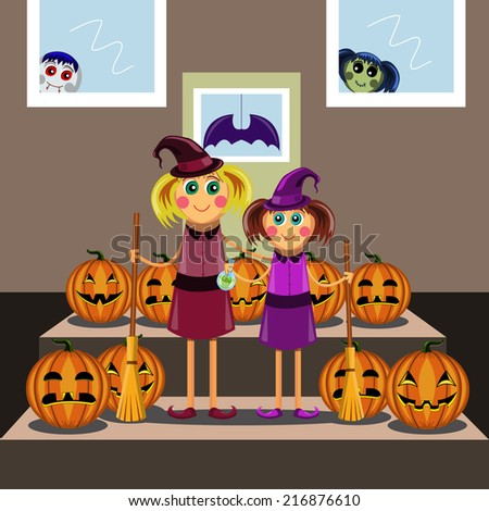 Little girls in suits of the witch among pumpkins celebrate a Halloween. Cute Halloween invintation card. Little cute witch.