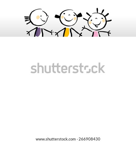 Little girls, kids with blank, empty placard, banner. Vector sketchy illustration, doodle style.  - stock vector