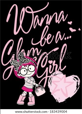 little glam girl vector - stock vector