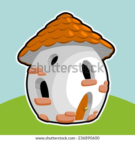 little gnome house - stock vector