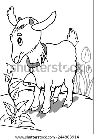 Little goat on the grass. Little goat standing in front of a bush in a glade around the flowers and grass. coloring Page