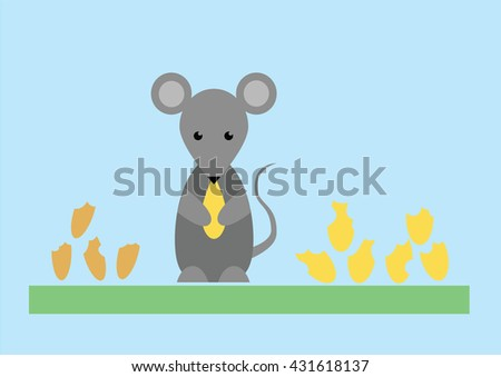 Little gray mouse eats the grain