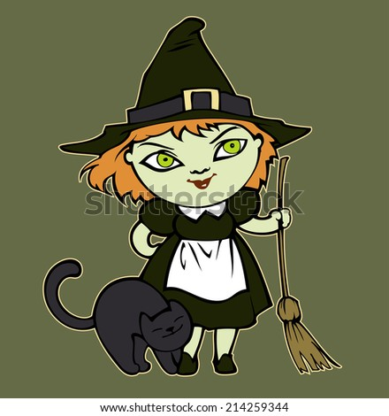 Little Halloween witch - stock vector