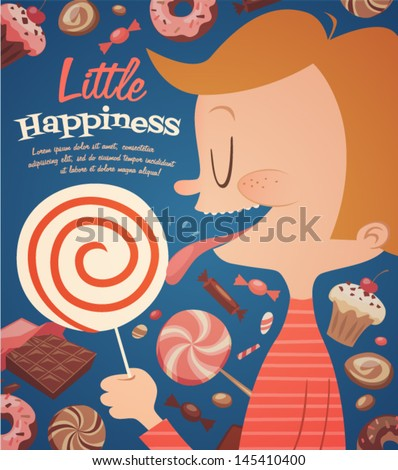 Little happiness. Childish poster. Vector retro styled illustration. - stock vector