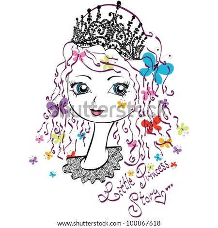 little happy princess with butterfly - stock vector