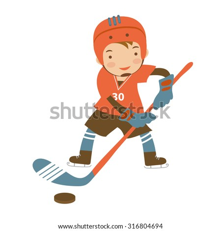 Little hockey player character illustration in vector format - stock vector
