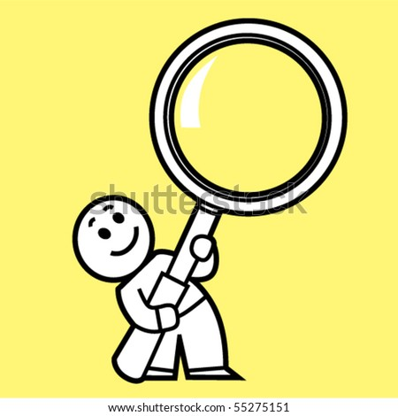 little human with Magnifying Glass - stock vector