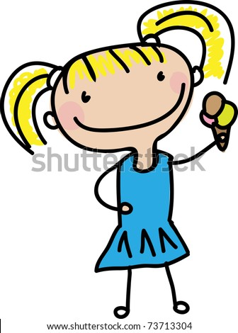 little kid drawing of a little girl eating ice cream cone - stock vector