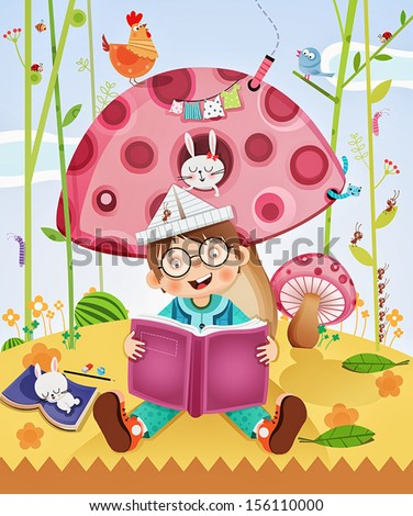 little kid enjoying reading an amazing book! - stock vector