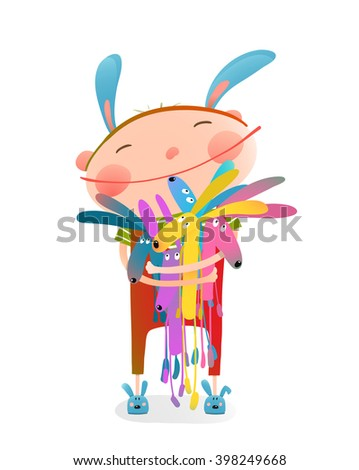 Little kid hugging rabbits funny cute toys. Little girl or boy hugging bunnies. Happy child in bunny costume, vector illustration - stock vector