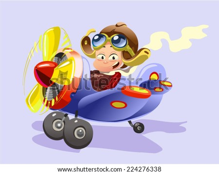 little kid Operating a Plane - stock vector